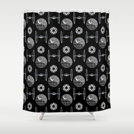 Empire ships pattern, death, star, dark side, movies, 80s Shower Curtain