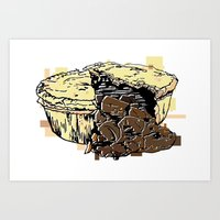 pie Art Prints featuring Pie by Kat Hassell