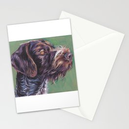 German Wirehaired Pointer dog art portrait from an original painting by L.A.Shepard Stationery Cards