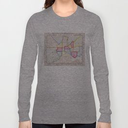 Vintage Map of Downtown Baltimore (1860) Long Sleeve T-shirt