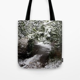 Snowy Path in The Trees Tote Bag
