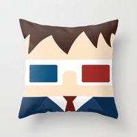 david tennant Throw Pillows featuring David Tennant, 10th doctor by heartfeltdesigns by Telahmarie