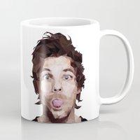 louis tomlinson Mugs featuring Louis Tomlinson - One Direction by jrrrdan