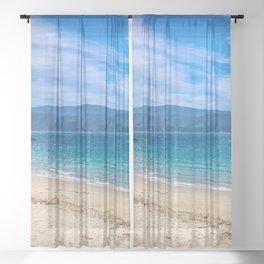 Beach At Scorching Bay Sheer Curtain