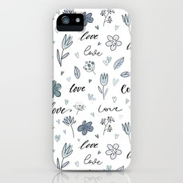 Floral Love Letter Hand Drawn iPhone Case