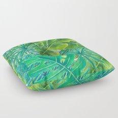 Tropcal leaves watercolor Floor Pillow