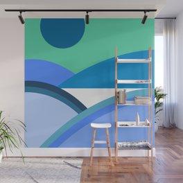Fields & Hills - Blue Wall Mural