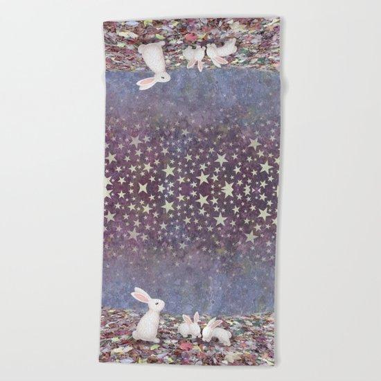 bunnies under the stars Beach Towel