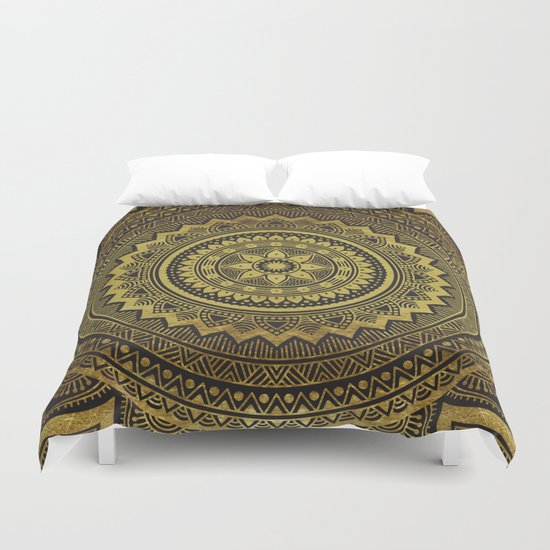 black and gold mandala duvet cover by mantra mandala society6. Black Bedroom Furniture Sets. Home Design Ideas