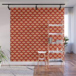 Art Deco Lily, Mandarin Orange and Gold Wall Mural