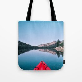 Red Canoe on the Lake (Color) Tote Bag