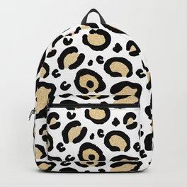 Gold Glitter Leopard Print Backpack