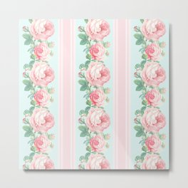 Shabby chic roses pink mint Metal Print