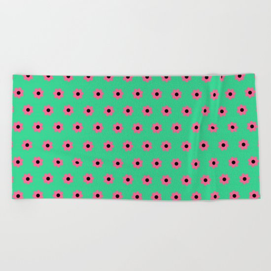Pink Daisies on Mint Green Beach Towel
