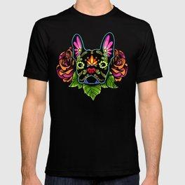 French Bulldog in Black - Day of the Dead Bulldog Sugar Skull Dog T-shirt