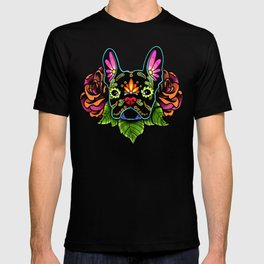 French Bulldog in Black - Day of the Dead Bulldog Sugar Skull Dog T-shirt