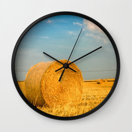 Haye bale in the harvest time Wall Clock
