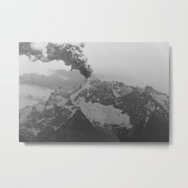 Volcano black and white Metal Print