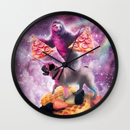 Space Pizza Sloth On Pug Unicorn On Waffles Wall Clock