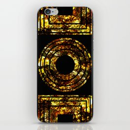 Golden Shapes - Abstract, black and gold, geometric, metallic textured artwork iPhone Skin