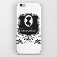 jane austen iPhone & iPod Skins featuring Jane Austen Snarky Quote by ArtSoElectric
