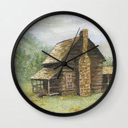 Log Cabin in Smokies Wall Clock