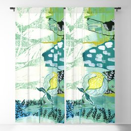 Bird and Leaf Mixed Media Collage Blackout Curtain