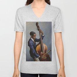 Classical Masterpiece 'Portrait of a Musician' by Thomas Hart Benton Unisex V-Neck