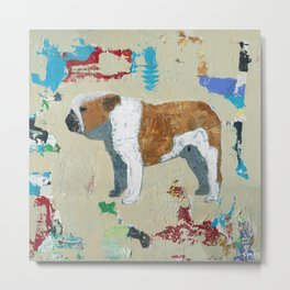 English Bulldog Abstract Art Metal Print