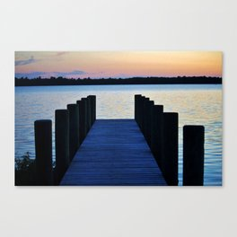 Boat Pier At Sunset Canvas Print