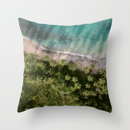 Las Terrenas from above   Beach travel photography Dominican Republic   Drone shot Throw Pillow