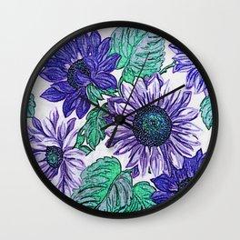 Large Purple Flowers Wall Clock