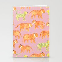 tigers Stationery Cards featuring Pink Tigers by Sian Keegan