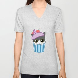 cupcake kitty Unisex V-Neck