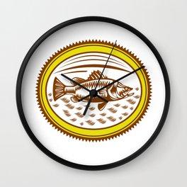 Saltwater Barramundi Rosette Woodcut Wall Clock