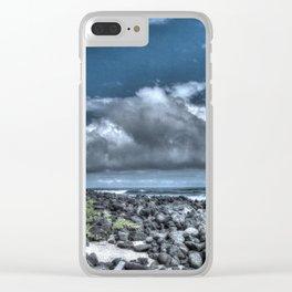 dark sky and rocks Clear iPhone Case