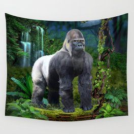 Silverback Gorilla Guardian of the Rainforest Wall Tapestry