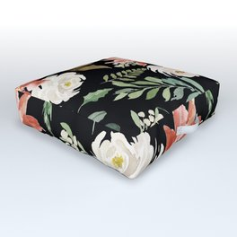 Christmas Poinsettias & White Roses Pattern Outdoor Floor Cushion