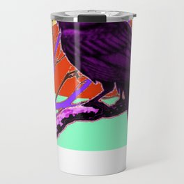 Surreal Purple-green  Mystic Moon Crow/Raven Moon Abstract Travel Mug
