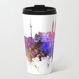 Bremen skyline in watercolor background Travel Mug