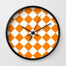 Large Diamonds - White and Orange Wall Clock
