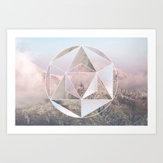 Sacred Geometry on Mountains Art Print