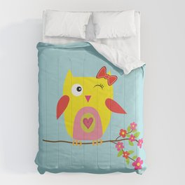 Cute Yellow Owl - Pink Flowers Illustration Comforters