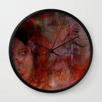 postcard Wall Clocks featuring postcard reverie  by abstractgallery