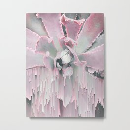 Sweet Pink Succulent Glitches Metal Print