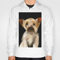 yorkie Hoodies featuring Yorkie on Black by barefoot art online