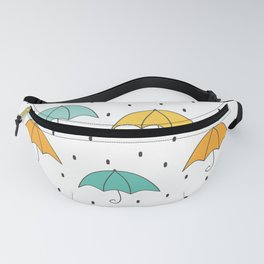 cute cartoon autumn pattern with umbrellas and rain Fanny Pack