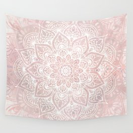 Mandala Yoga Love, Blush Pink Floral Wall Tapestry