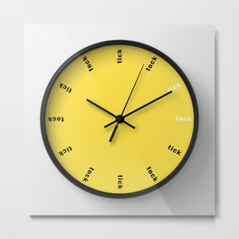 clock tick tock ~ white yellow Metal Print