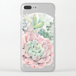 Pink Succulent Full Moon Night Sky by Nature Magick Clear iPhone Case